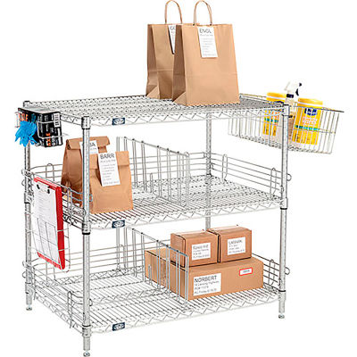 "Nexelate® Silver Epoxy To Go Rack - 3 Wire Shelves, Dividers & Ledges - 60""W x 24""D x 34""H"