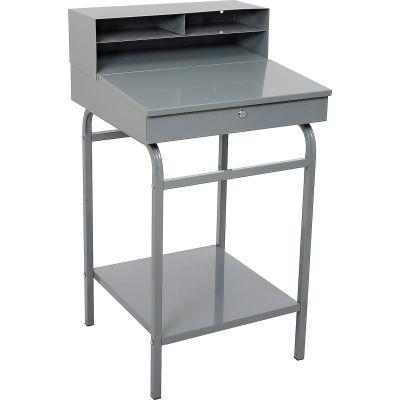 """Winholt Shop Desk with Pigeonhole Riser 24""""W x 22""""D x 45""""D Sloped Surface - Gray"""