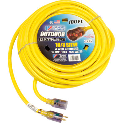 U.S. Wire 68100 100 Ft. Single Tap Extension Cord w/ Lighted Ends, 10/3 Ga. SJWT-A, 300V, Yellow