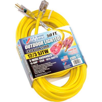 U.S. Wire 74050 50 Ft. Power-On Cord W/Indicator Light, 12/3
