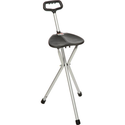 Drive Medical 10365 Deluxe Folding Lightweight Cane Seat, Silver with Black