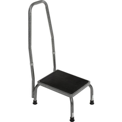Drive Medical Step Stool with Handrail - Non-Skid Rubber Footstool Platform 13031-1SV