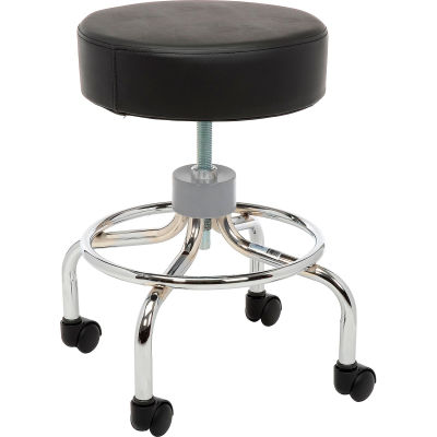 """Drive Medical 13034 Deluxe Wheeled Round Stool, 14"""" Seat, 17.5""""-24"""" Adjustable Height"""
