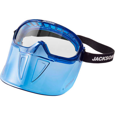 Jackson Safety 21000 Blue Goggle with Flip Up Chin Guard, Clear, Anti-Fog