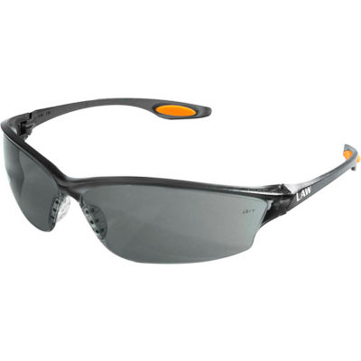 MCR Safety LW212 Law® 2 Safety Glasses, Orange Temple Inserts, Gray Lens