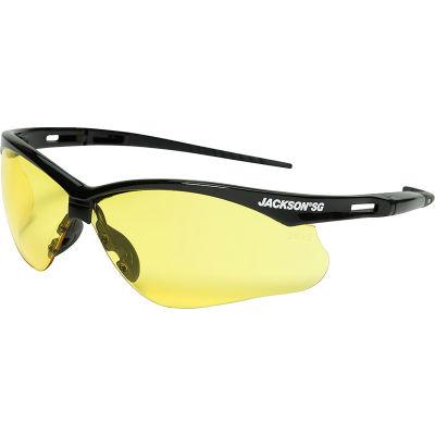 Jackson Safety SG Safety Glasses Black Frame Amber Lens Anti-Scratch
