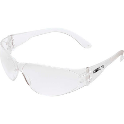 MCR Safety CL110 Crews Checklite Safety Glasses, Clear Lens, Clear Frame, Anti-Scratch, 1-Pair