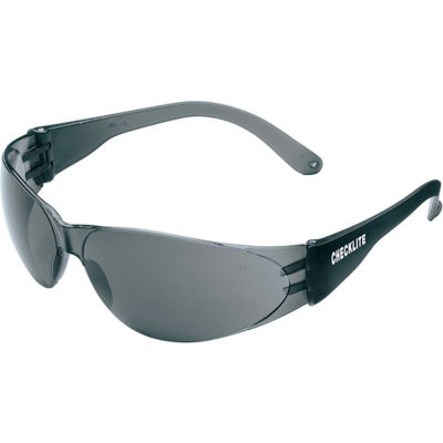 MCR Safety Crews CL112 Checklite Safety Glasses, Black Lens, Black Frame, Anti-Scratch, 1-Pair
