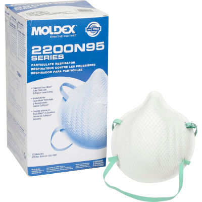 Moldex 2200 Series N95 Particulate Respirator Mask, Low Profile, 20/Box, 2207N95