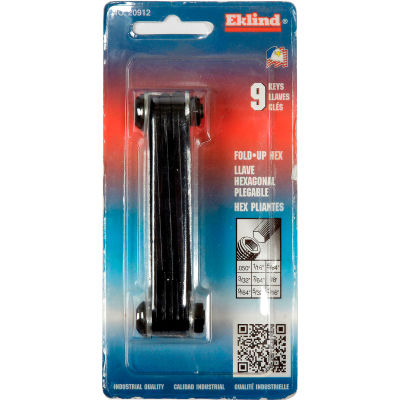 "Eklind 20912 9Pc. .050-3/16"" 9Pc. SAE Fold Up Hex Key Set"
