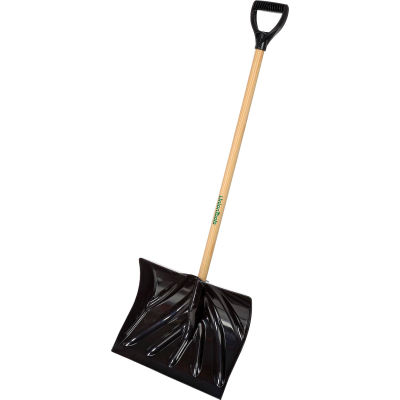 "Union Tools® 1627400 18"" Poly Combo Snow Shovel W/ Wood D-Grip Handle"