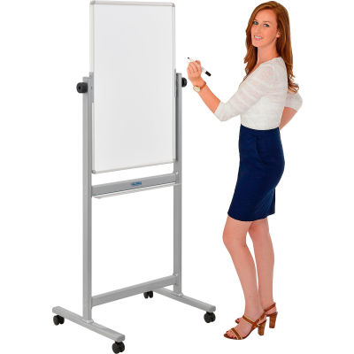 """Global Industrial™ Mobile Reversible Magnetic Whiteboard - 24""""W x 36""""H - Steel - Silver Frame"""