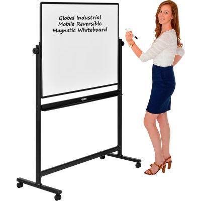 Global Industrial™ Mobile Reversible Whiteboard - 48 x 36 - Porcelain - Black Frame