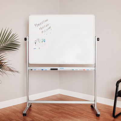 Global Industrial™ Mobile Reversible Whiteboard - 48 x 36 - Porcelain - Silver Frame