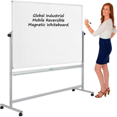 Global Industrial™ Mobile Reversible Whiteboard - 72 x 48 - Steel - Silver Frame