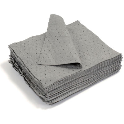 "Universal Dimpled Absorbent Pads, Medium Weight, 18"" x 15"", Gray, 100/Bale"