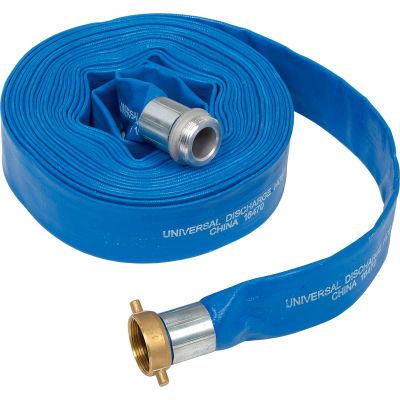 "Apache 98138015 1-1/2"" x 50' PVC Lay Flat Discharge Hose w/ M x F Aluminum Short Shanks"
