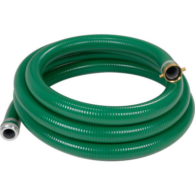 """Apache 98128040 2"""" x 20' Green PVC Water Suction Hose Assembly w/M x F Aluminum Short Shank Fittings"""