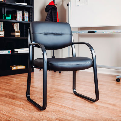 Interion® Waiting Room Chair with Arms - Leather - Black