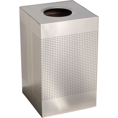 Rubbermaid® Silhouette SC18 Square Open Top Receptacle w/Liner, 29 Gallon - Stainless Steel