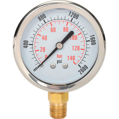 "Dynamic 2 1/2 "" Fluid Glycerine Filled Pressure Gage Stem 2000 PSI"