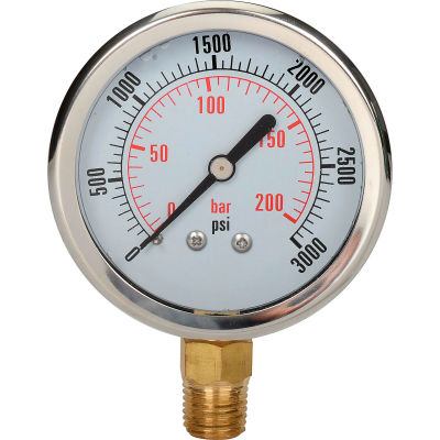 "Dynamic 2 1/2 "" Fluid Glycerine Filled Pressure Gage Stem 3000 PSI"