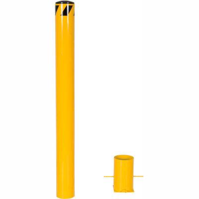 "Removable Bollard with 10""H Sleeve, Yellow, 48-3/4""H x 5-9/16"" Dia. Bollard"