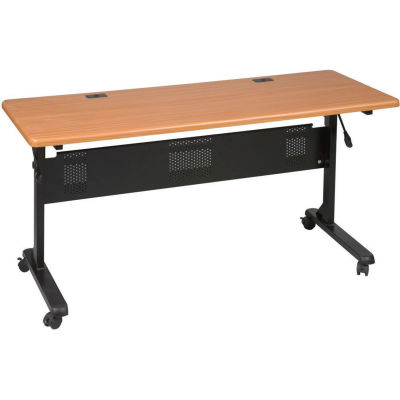 "Balt® Flipper Training Table, 60"" x 24"", Teak"