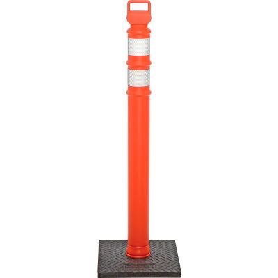 "45"" Orange Ez Grab Delineator Post, Flared With 10lb Base"