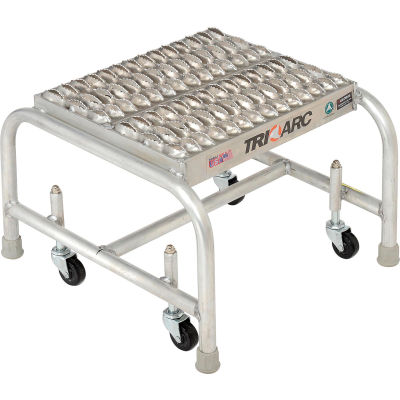 "1 Step Mobile Aluminum Step Stand w/ Grip Strut Top Step & 16""W Platform - WLAR001165"
