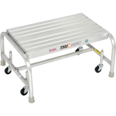 """1 Step Mobile Aluminum Step Stand w/ Solid Ribbed Top Step & 24""""W Platform - WLAR001244"""