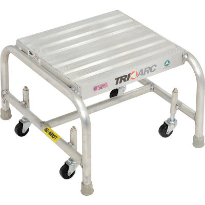 """1 Step Mobile Aluminum Step Stand w/ Solid Ribbed Top Step & 16""""W Platform - WLAR001164"""