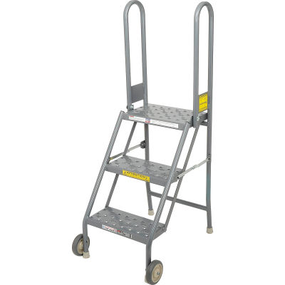 3 Step Folding Rolling Ladder Stand - Perforated Tread - KDMF103166
