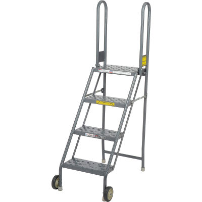 4 Step Folding Rolling Ladder Stand - Perforated Tread - KDMF104166