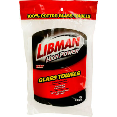 Libman Commercial High Power® 100% Cotton White Glass Towels, 6 Pack - 592