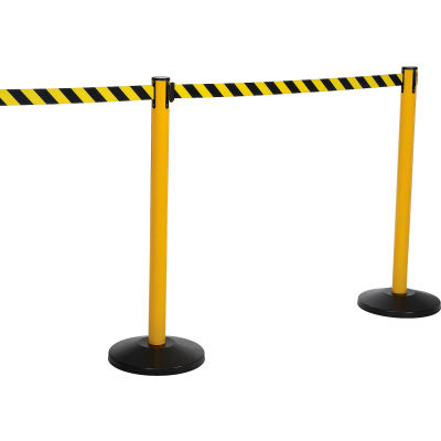 Yellow Post Safety Barrier, 11 Ft., Yellow/Black Belt - Pkg Qty 2