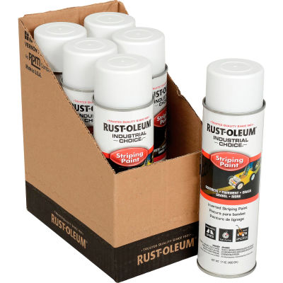Rust-Oleum S1600 System Inverted Striping Paint Aerosol, White - Pkg Qty 6