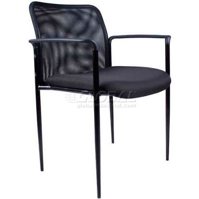 Boss Reception Guest Chair with Arms - Mesh- Black