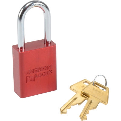 American Lock® No. A1106RED Solid Aluminum Rectangular Padlock, Red - Pkg Qty 6