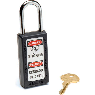 Master Lock® Safety 411 Series Zenex™ Thermoplastic Padlock, Black, 411BLK