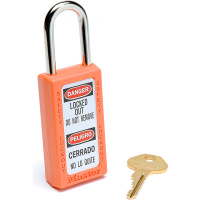 Master Lock® Safety 411 Series Zenex™ Thermoplastic Padlock, Orange, 411ORJ