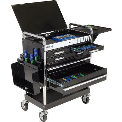 "Sunex® Tools Professional 5-Drawer Black Tool Cart W/ Locking Top, 27""H"