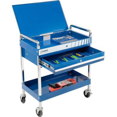 "Sunex Tools 8013ABL 30"" Blue Tool Cart W Locking Top & Drawer"