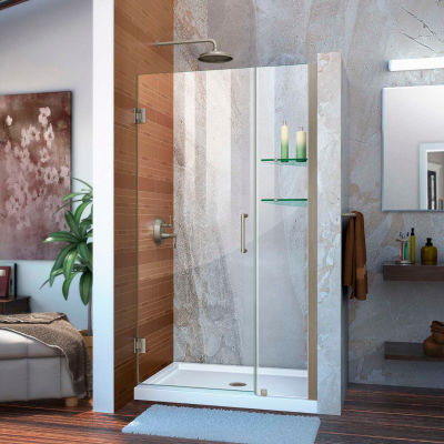 """DreamLine™ Unidoor Frameless Adjustable Shower Door SHDR-20367210CS-04, Glass Shelves, 36""""-37"""""""