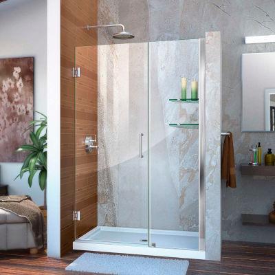 """DreamLine™ Unidoor Frameless Adjustable Shower Door SHDR-20437210S-01 W/Glass Shelves, 43""""-44"""""""