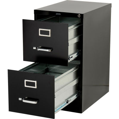 """Lorell® 2-Drawer Commercial-Grade Vertical File Cabinet, 15""""W x 22""""D x 28""""H, Black"""