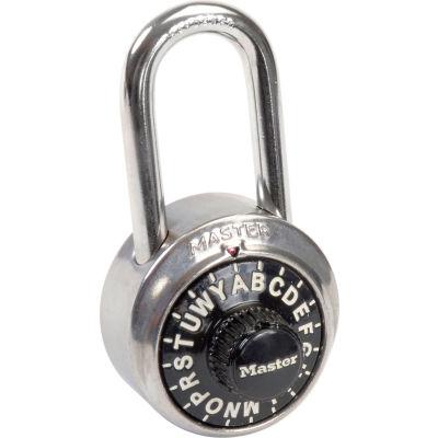 "Master Lock® No. 1572LF 3-Letter Combo Padlock 1-1/2"" Inside Shackle, Control Chart, Blk Dial - Pkg Qty 6"
