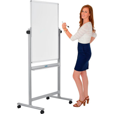 "Global Industral™ Mobile Reversible Magnetic Whiteboard - 30""W x 40""H - Steel - Silver Frame"