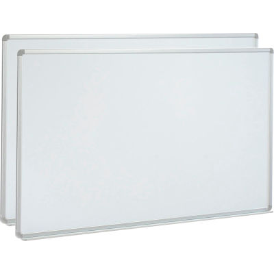 Global Industrial™ Porcelain Dry Erase Whiteboard - 72 x 48 - Aluminum - Pack of 2