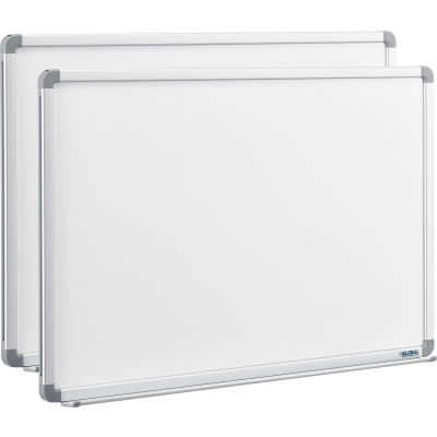 Global Industrial™ Magnetic Whiteboard - 36 x 24 - Steel Surface - Aluminum Frame - Pack of 2